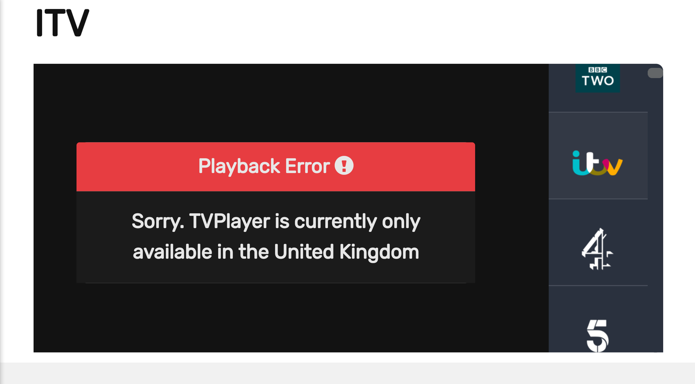 TVPlayer blocked outside the UK
